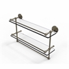 Allied Brass P1000-2TB/22-GAL-ABR 22 Inch Gallery Double Glass Shelf with Towel Bar, Antique Brass