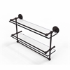 Allied Brass P1000-2TB/22-GAL-ABZ 22 Inch Gallery Double Glass Shelf with Towel Bar, Antique Bronze