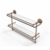 Allied Brass P1000-2TB/22-GAL-BBR 22 Inch Gallery Double Glass Shelf with Towel Bar, Brushed Bronze