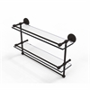 P1000-2TB/22-GAL-ORB 22 Inch Gallery Double Glass Shelf with Towel Bar, Oil Rubbed Bronze