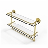 Allied Brass P1000-2TB/22-GAL-UNL 22 Inch Gallery Double Glass Shelf with Towel Bar, Unlacquered Brass