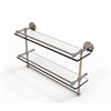 Allied Brass P1000-2TB/22-GAL-PEW 22 Inch Gallery Double Glass Shelf with Towel Bar, Antique Pewter