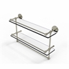 Allied Brass P1000-2TB/22-GAL-PNI 22 Inch Gallery Double Glass Shelf with Towel Bar, Polished Nickel