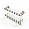Allied Brass P1000-2TB/22-GAL-SBR 22 Inch Gallery Double Glass Shelf with Towel Bar, Satin Brass