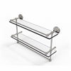 Allied Brass P1000-2TB/22-GAL-SN 22 Inch Gallery Double Glass Shelf with Towel Bar, Satin Nickel
