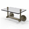 Allied Brass P1000-GLT-24-ABR Prestige Skyline Collection Two Post Toilet Tissue Holder with Glass Shelf, Antique Brass