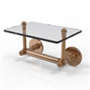 Allied Brass P1000-GLT-24-BBR Prestige Skyline Collection Two Post Toilet Tissue Holder with Glass Shelf, Brushed Bronze