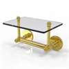 Allied Brass P1000-GLT-24-UNL Prestige Skyline Collection Two Post Toilet Tissue Holder with Glass Shelf, Unlacquered Brass