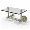 Allied Brass P1000-GLT-24-PNI Prestige Skyline Collection Two Post Toilet Tissue Holder with Glass Shelf, Polished Nickel
