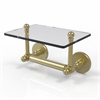 Allied Brass P1000-GLT-24-SBR Prestige Skyline Collection Two Post Toilet Tissue Holder with Glass Shelf, Satin Brass