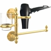 Allied Brass P1000-GTBD-1-UNL Prestige Skyline Collection Hair Dryer Holder and Organizer, Unlacquered Brass