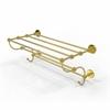 Allied Brass P1000-HTL/24-5-UNL Prestige Skyline Collection 24 Inch Train Rack Towel Shelf, Unlacquered Brass