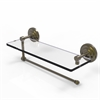 Allied Brass PQN-1PT/16-ABR Prestige Que New Collection Paper Towel Holder with 16 Inch Glass Shelf, Antique Brass