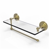 Allied Brass PQN-1PT/16-SBR Prestige Que New Collection Paper Towel Holder with 16 Inch Glass Shelf, Satin Brass