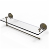 Allied Brass PQN-1PT/22-ABR Prestige Que New Collection Paper Towel Holder with 22 Inch Glass Shelf, Antique Brass