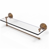 Allied Brass PQN-1PT/22-BBR Prestige Que New Collection Paper Towel Holder with 22 Inch Glass Shelf, Brushed Bronze