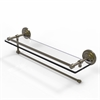 Allied Brass PQN-1PT/22-GAL-ABR Prestige Que New Collection Paper Towel Holder with 22 Inch Gallery Glass Shelf, Antique Brass