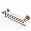 Allied Brass PQN-1PT/22-GAL-BBR Prestige Que New Collection Paper Towel Holder with 22 Inch Gallery Glass Shelf, Brushed Bronze
