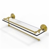 Allied Brass PQN-1PT/22-GAL-UNL Prestige Que New Collection Paper Towel Holder with 22 Inch Gallery Glass Shelf, Unlacquered Brass