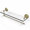 Allied Brass PQN-1PT/22-SBR Prestige Que New Collection Paper Towel Holder with 22 Inch Glass Shelf, Satin Brass
