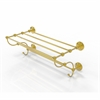 Allied Brass PQN-HTL/24-5-UNL Prestige Que New Collection 24 Inch Train Rack Towel Shelf, Unlacquered Brass