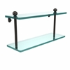 Allied Brass PR-2/16-ORB 16 Inch Two Tiered Glass Shelf, Oil Rubbed Bronze