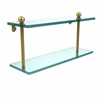 Allied Brass PR-2/16-UNL 16 Inch Two Tiered Glass Shelf, Unlacquered Brass