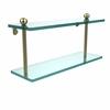 Allied Brass PR-2/16-SBR 16 Inch Two Tiered Glass Shelf, Satin Brass