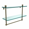 Allied Brass PR-2/16TB-ABR 16 Inch Two Tiered Glass Shelf with Integrated Towel Bar, Antique Brass