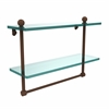 Allied Brass PR-2/16TB-ABZ 16 Inch Two Tiered Glass Shelf with Integrated Towel Bar, Antique Bronze