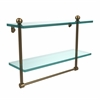 Allied Brass PR-2/16TB-BBR 16 Inch Two Tiered Glass Shelf with Integrated Towel Bar, Brushed Bronze