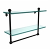 Allied Brass PR-2/16TB-BKM 16 Inch Two Tiered Glass Shelf with Integrated Towel Bar, Matte Black