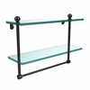 Allied Brass PR-2/16TB-ORB 16 Inch Two Tiered Glass Shelf with Integrated Towel Bar, Oil Rubbed Bronze
