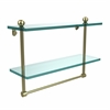 Allied Brass PR-2/16TB-SBR 16 Inch Two Tiered Glass Shelf with Integrated Towel Bar, Satin Brass
