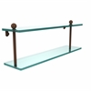 Allied Brass PR-2/22-ABZ 22 Inch Two Tiered Glass Shelf, Antique Bronze