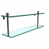 Allied Brass PR-2/22-BBR 22 Inch Two Tiered Glass Shelf, Brushed Bronze
