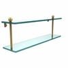 Allied Brass PR-2/22-PB 22 Inch Two Tiered Glass Shelf, Polished Brass