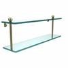 Allied Brass PR-2/22-SBR 22 Inch Two Tiered Glass Shelf, Satin Brass