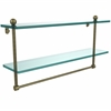 Allied Brass PR-2/22TB-ABR 22 Inch Two Tiered Glass Shelf with Integrated Towel Bar, Antique Brass