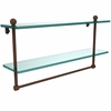 Allied Brass PR-2/22TB-ABZ 22 Inch Two Tiered Glass Shelf with Integrated Towel Bar, Antique Bronze