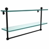 Allied Brass PR-2/22TB-BKM 22 Inch Two Tiered Glass Shelf with Integrated Towel Bar, Matte Black