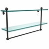 Allied Brass PR-2/22TB-ORB 22 Inch Two Tiered Glass Shelf with Integrated Towel Bar, Oil Rubbed Bronze