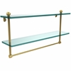 Allied Brass PR-2/22TB-UNL 22 Inch Two Tiered Glass Shelf with Integrated Towel Bar, Unlacquered Brass