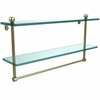 Allied Brass PR-2/22TB-SBR 22 Inch Two Tiered Glass Shelf with Integrated Towel Bar, Satin Brass