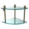 Allied Brass PR-3-ABR Two Tier Corner Glass Shelf, Antique Brass