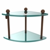 PR-3-ABZ Two Tier Corner Glass Shelf, Antique Bronze