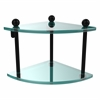 PR-3-BKM Two Tier Corner Glass Shelf, Matte Black