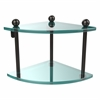 PR-3-ORB Two Tier Corner Glass Shelf, Oil Rubbed Bronze