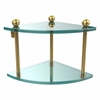 Allied Brass PR-3-UNL Two Tier Corner Glass Shelf, Unlacquered Brass