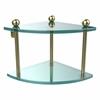 Allied Brass PR-3-SBR Two Tier Corner Glass Shelf, Satin Brass